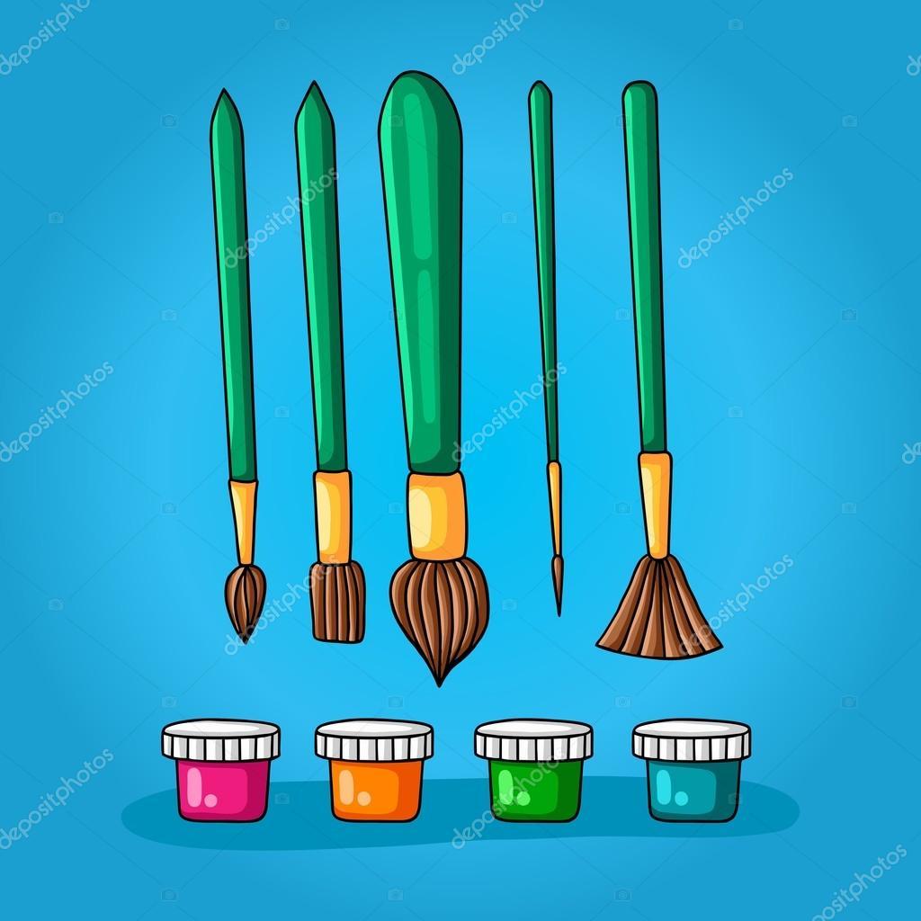Farben-Set von fünf verschiedenen Pinsel zum Malen und vier Farben ...