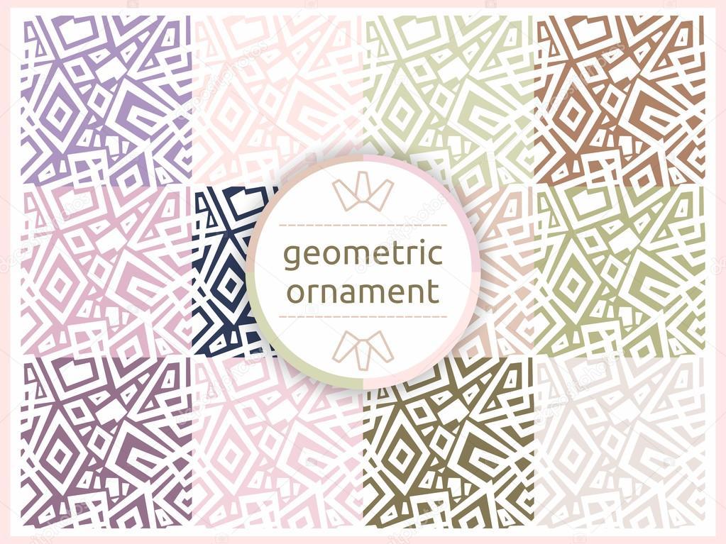 Conjunto de patrones geométricos en tonos pastel suaves. Sin fisuras ...