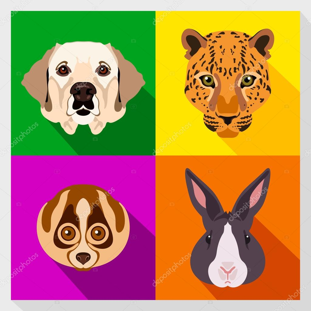 Set of animals with Flat Design. Symmetrical portraits of animals. Vector Illustration. Labrador dog, lemur, leopard, rabbit. A set of symmetric vector portraits animals. Icon Set. Animal face.