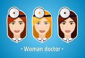 Fotografia Set di immagini vettoriali di un medico donna. Medico. Il viso della ragazza. Icona. Icona piana. Minimalismo