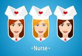 Fotografia Set of vector illustrations of a nurses. Nurse, nanny. The girls face. Icon. Flat icon. Minimalism. The stylized girl. Occupation. Job. Uniforms, nurse cap.