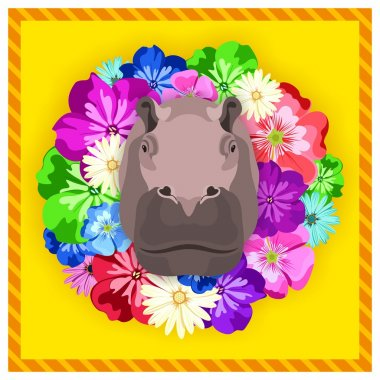 Vector portrait of a hippopotamus, hippo among the flowers. Beautiful, bright colors. Flower frame, rim. Symmetrical portraits of animals. Vector Illustration, greeting card, poster. Icon. Animal face. Image of a hippopotamus, hippo face.