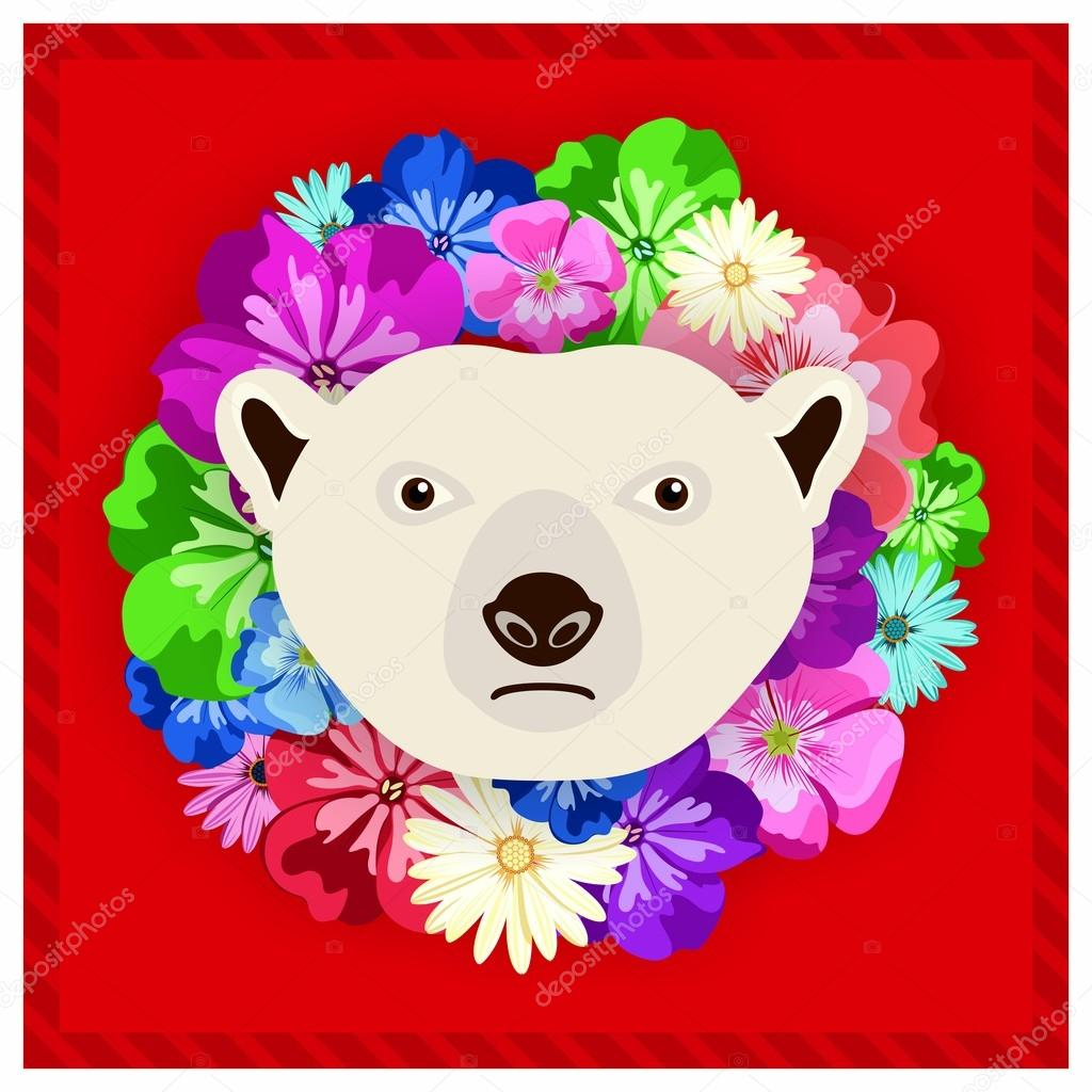 Vector portrait of a polar bear among the flowers. Beautiful, bright colors. Flower frame, rim. Symmetrical portraits of animals. Vector Illustration, greeting card, poster. Icon. Animal face. Font inscription. Image of a polar bear face.
