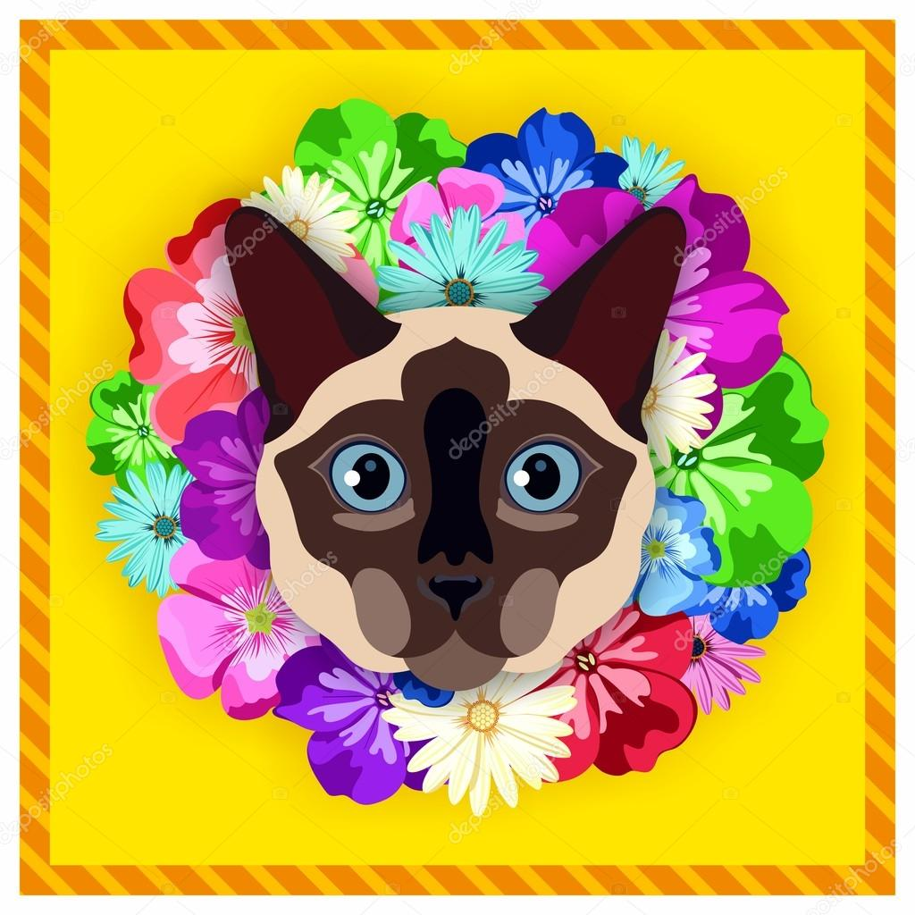 Vector portrait of a Siamese cat among the flowers. Beautiful, bright colors. Flower frame, rim. Symmetrical portraits of animals. Vector Illustration, greeting card, poster. Icon. Animal face. Font inscription. Image of a Siamese cat face.