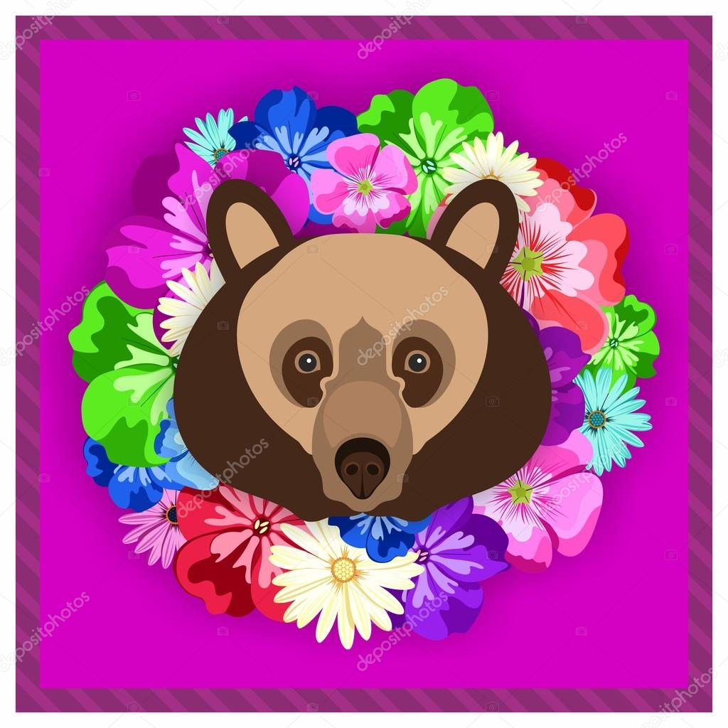 Vector portrait of a brown bear among the flowers. Beautiful, bright colors. Flower frame, rim. Symmetrical portraits of animals. Vector Illustration, greeting card, poster. Icon. Animal face. Font inscription. Image of a brown bear face.