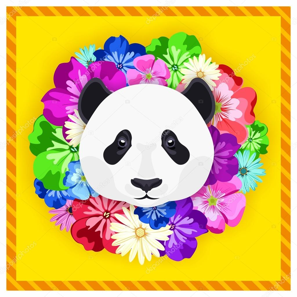 Vector portrait of a panda among the flowers. Beautiful, bright colors. Flower frame, rim. Symmetrical portraits of animals. Vector Illustration, greeting card, poster. Icon. Animal face. Font inscription. Image of a panda's face.