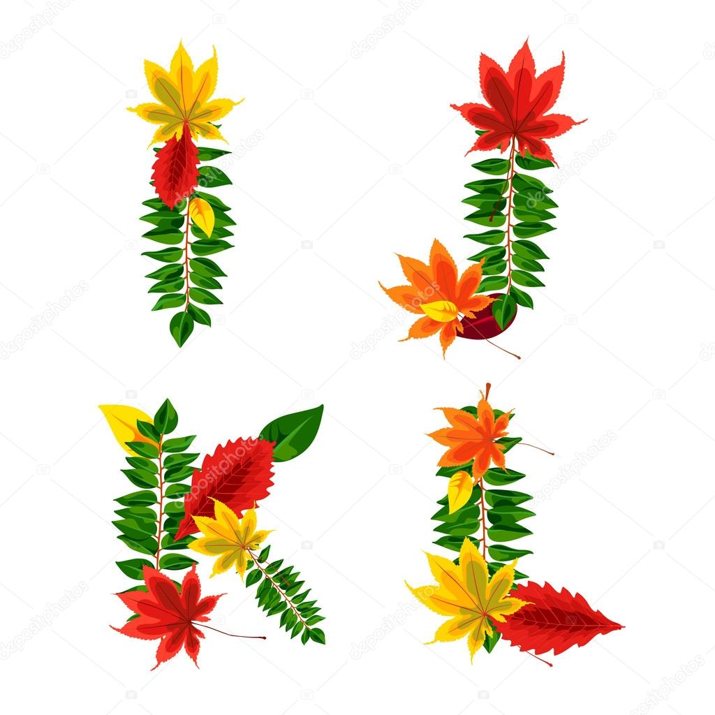 Set of autumn letters composed of beautiful red, yellow, green and orange leaves. Autumn alphabet. I, J, K, L. Set autumn letters. Letters from the leaves.