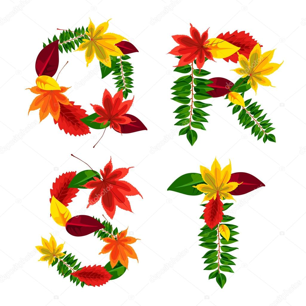 Set of autumn letters composed of beautiful red, yellow, green and orange leaves. Autumn alphabet. Q, R, S, T. Set autumn letters. Letters from the leaves.