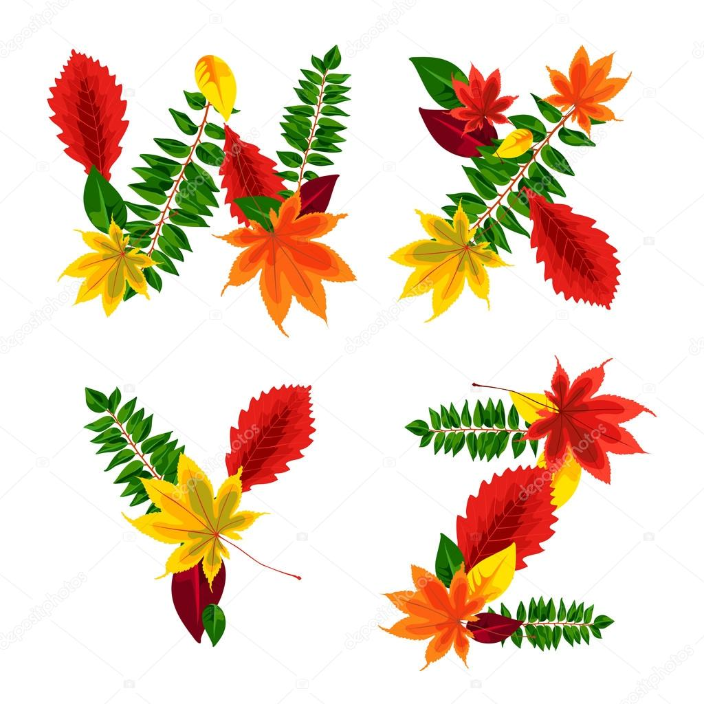 Set of autumn letters composed of beautiful red, yellow, green and orange leaves. Autumn alphabet. W, X, Y, Z. Set autumn letters. Letters from the leaves.