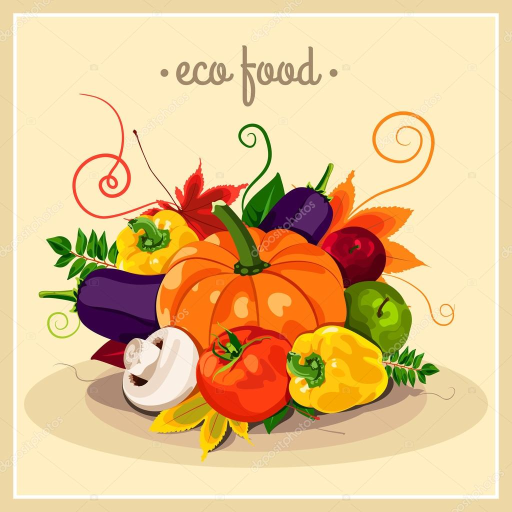 The stylish poster with a set of vector vegetables. Eco food. Autumn harvest. Healthy foods. Fresh and healthy food. Diet. Tomato, yellow pepper, mushroom, pumpkin. Sticker. Print.