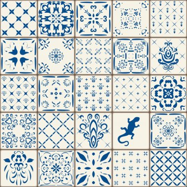 Indigo Blue Tiles Floor Ornament Collection. Gorgeous Seamless Patchwork Pattern from Colorful Traditional Painted Tin Glazed Ceramic Tilework Vintage Illustration. For web page template background