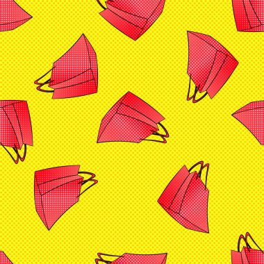 Colourful red pink shopping bags seamless pattern. black friday, seasonal spring summer winter autumn sale. Discount time in mall, retail store. Fashion days. Retro yellow halftone dots background.