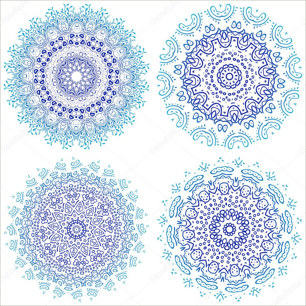 Mandala. Vintage decorative elements. Hand drawn background. Islam, Arabic, Indian, ottoman motifs. Round Ornament set. Geometric circle, vector. For yoga design style. blue teal white isolated.