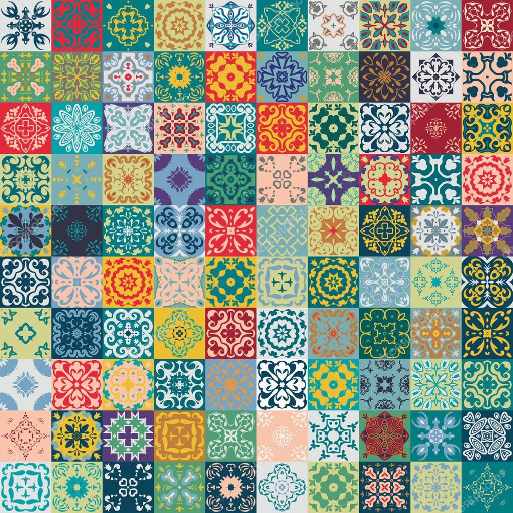 Superbe Design Patchwork Floral Carreaux Carres Marocains Ou
