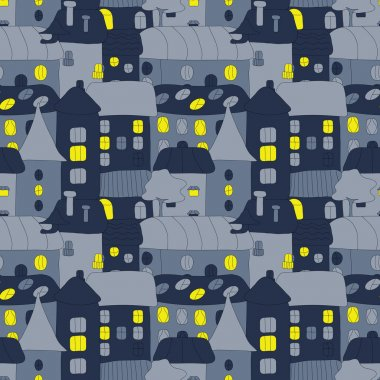 Home Sweet Home. Hand-drawn seamless pattern with doddle old town in the night. Cute vector seamless pattern with night houses wit light in the windows.