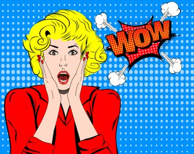 Wow. Wow face. Wow expression. Surprised woman with open mouth vector. Pop art wonder woman. Wow emotion. Wow Comic woman. Surprised pop art girl. Shock. Shock woman. Surprised face. Wonder face.