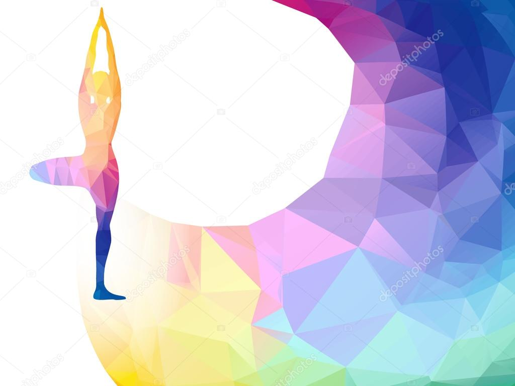 Vector Rainbow Polygonal Label With Woman Silhouette Of Yoga Pose Yoga Sport Invitation Poster Or Flyer Background With Empty Space Banner Template Colorful Polygonal Triangle Background Vector Stock Vector C Gorbachlena 110842382