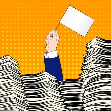Paperwork. Businessman hand with white flag. Office desk loaded of paperwork , invoices and a lot of papers, documents. Pop art. Overworked man. Time management.