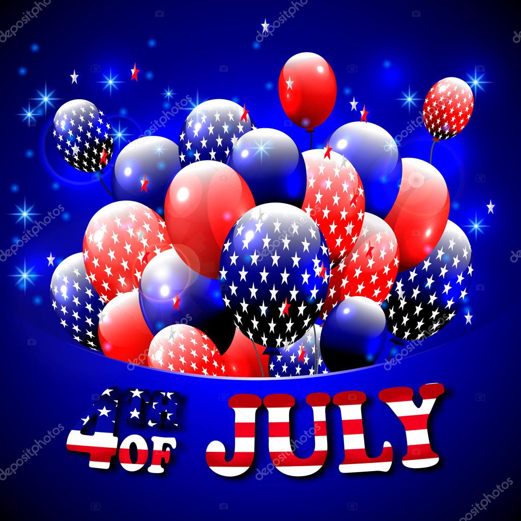 Happy 4th Of July Design Blue Background Baloons With Stars