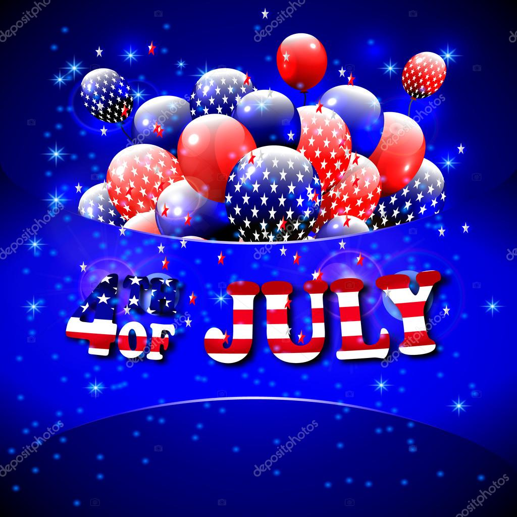 Happy 4th of july design blue background baloons with stars happy 4th of july design blue background baloons with stars striped text american independence day greetings for invintation party bbq vector m4hsunfo