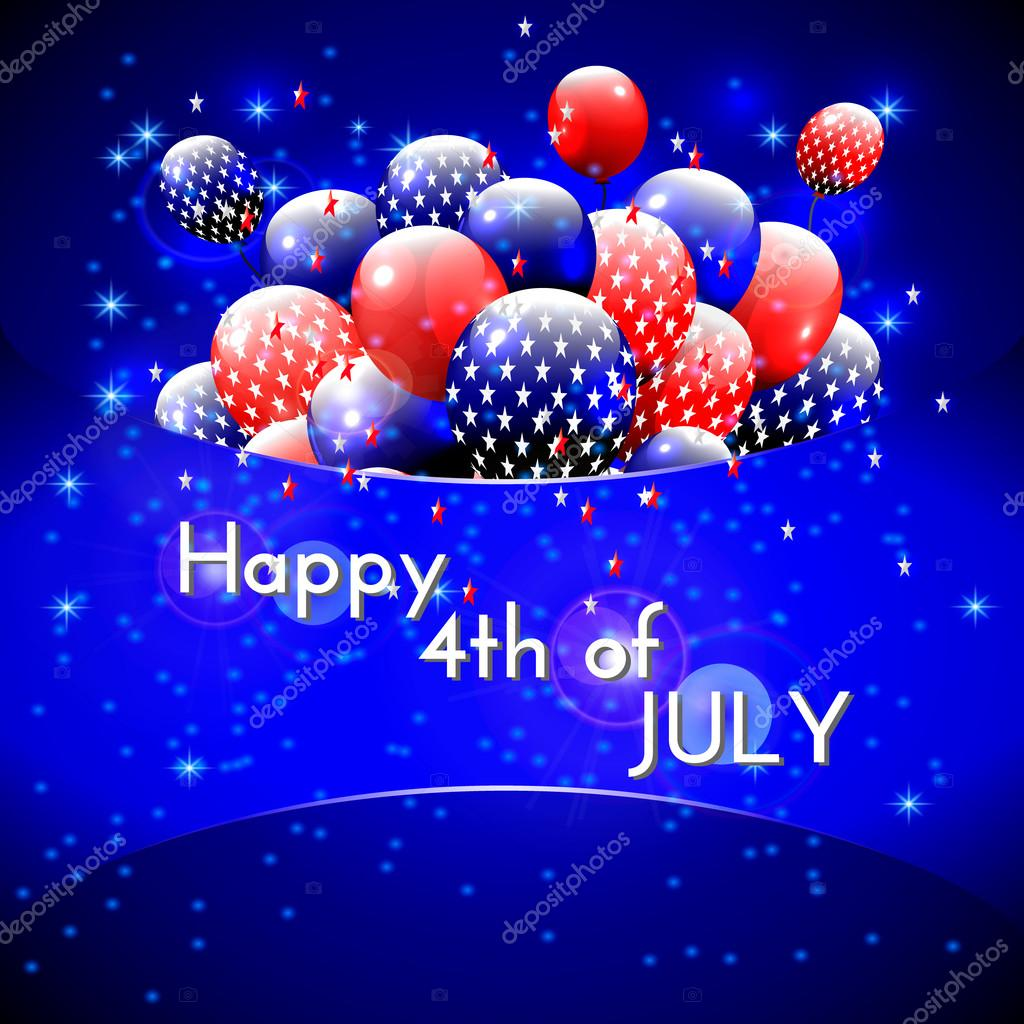 Happy 4th of july design blue background balloons with stars happy 4th of july design blue background balloons with stars striped text american independence day greetings for invitation party bbq vector m4hsunfo