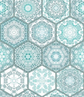 Blue green Tiles Floor Ornament Collection Gorgeous Seamless Patchwork Pattern Colorful Painted Tin Glazed Ceramic Tilework Vintage Illustration web page template background Vector Pattern Image. clip art vector