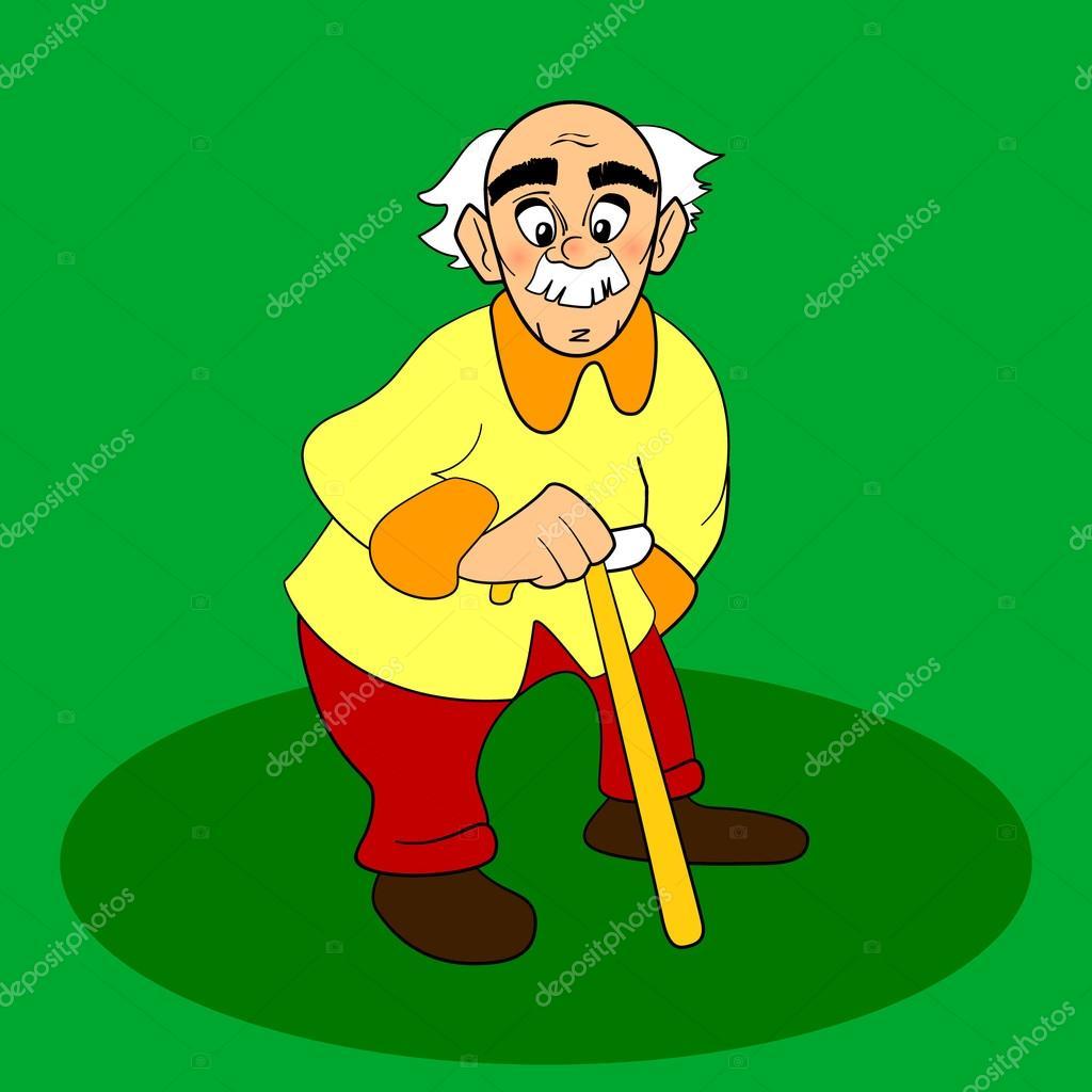 Velho com walkins cana personagem de desenhos animados ou