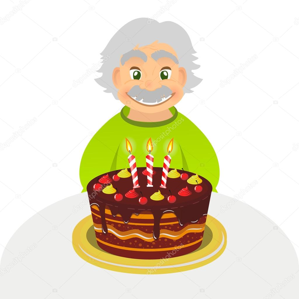 Oude Man Vieren Verjaardag Senior Man Met Chocolade Cake En Kaars