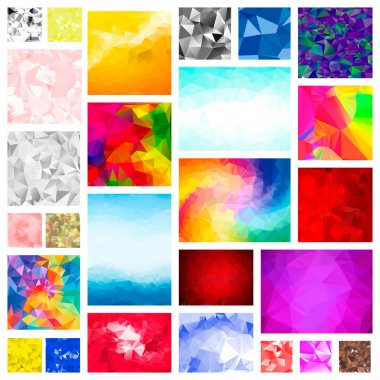 Mega Set Pack of abstract 3d Low Polygonal Backgrounds. Swirl, line shapes, styles. For business brochures print, digital advertising wallpapers, flyer. Vector eps10. Blue, red, teal, white