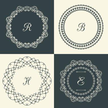 Flourishes calligraphic monogram emblem template. Luxury frame.