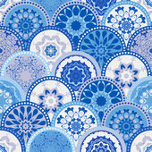 Seamless abstract pattern frame of trendy colored floral flower tile circles. For wallpaper, surface textures, textile. Summer-Autumn Design. India, Islam ethnic round style. White, blue. vector