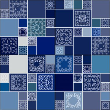 Seamless abstract pattern frame of trendy colored floral flower tiles. For wallpaper, surface textures, textile. Summer-Autumn Design. India, Islam ethnic round style. White, blue. vector