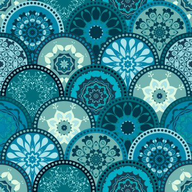 Seamless abstract pattern frame of trendy colored floral flower tile circles. For wallpaper, surface textures, textile. Summer-Autumn Design. India, Islam ethnic round style. Green, blue. vector