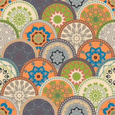 Seamless abstract pattern frame of trendy colored floral flower tile circles. For wallpaper, surface textures, textile. Summer-Autumn Design. India, Islam ethnic style. Green, orange, blue. vector