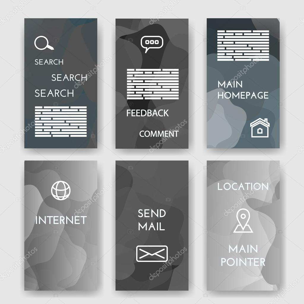 Set Of Poster, Flyer, Brochure Design Templates With Map Location, Mail,  Internet, Homepage For Web Interface, Feedback Comment, Search Infographic  Concept.