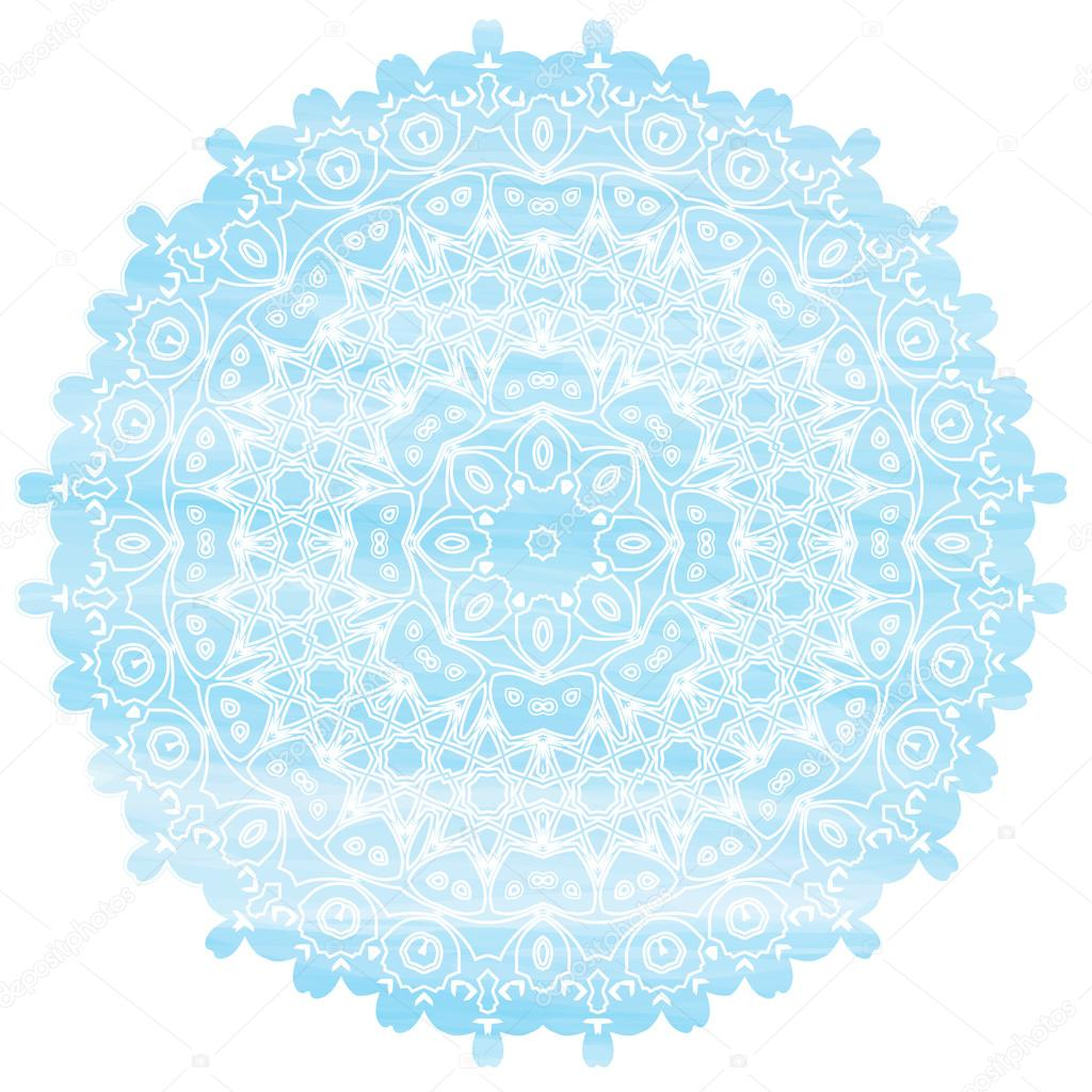 Light Blue Mandala watercolor effect. Vintage decorative elements. Hand drawn background. Islam, Arabic, Asian, Indian, ottoman ethic motifs. Round Ornament Pattern Texture Vector. Snowflakes