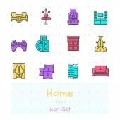 Fényképek Hazai színes vonalas ikon készlet. 4. rész. nappali