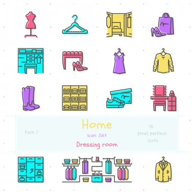 Home color line icon set. Part 7. Dressing room