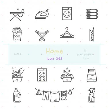 Home line icon set. Part 6. Laundry