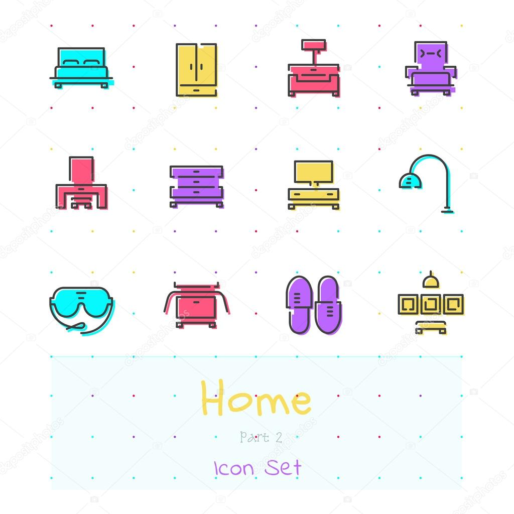 Home Color Line Icon Set Part 2 Bedroom Stock Vector