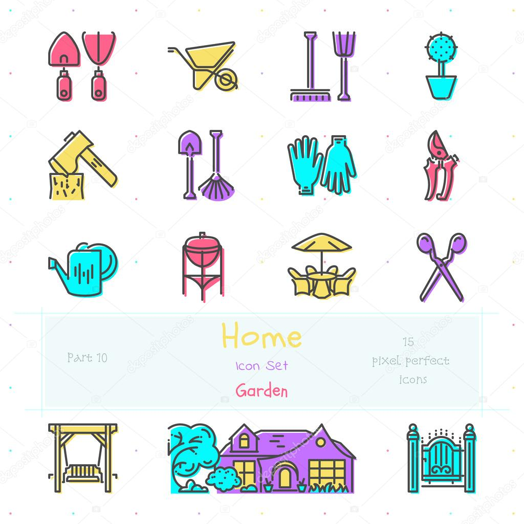 Home color line icon set. Part 10. Garden