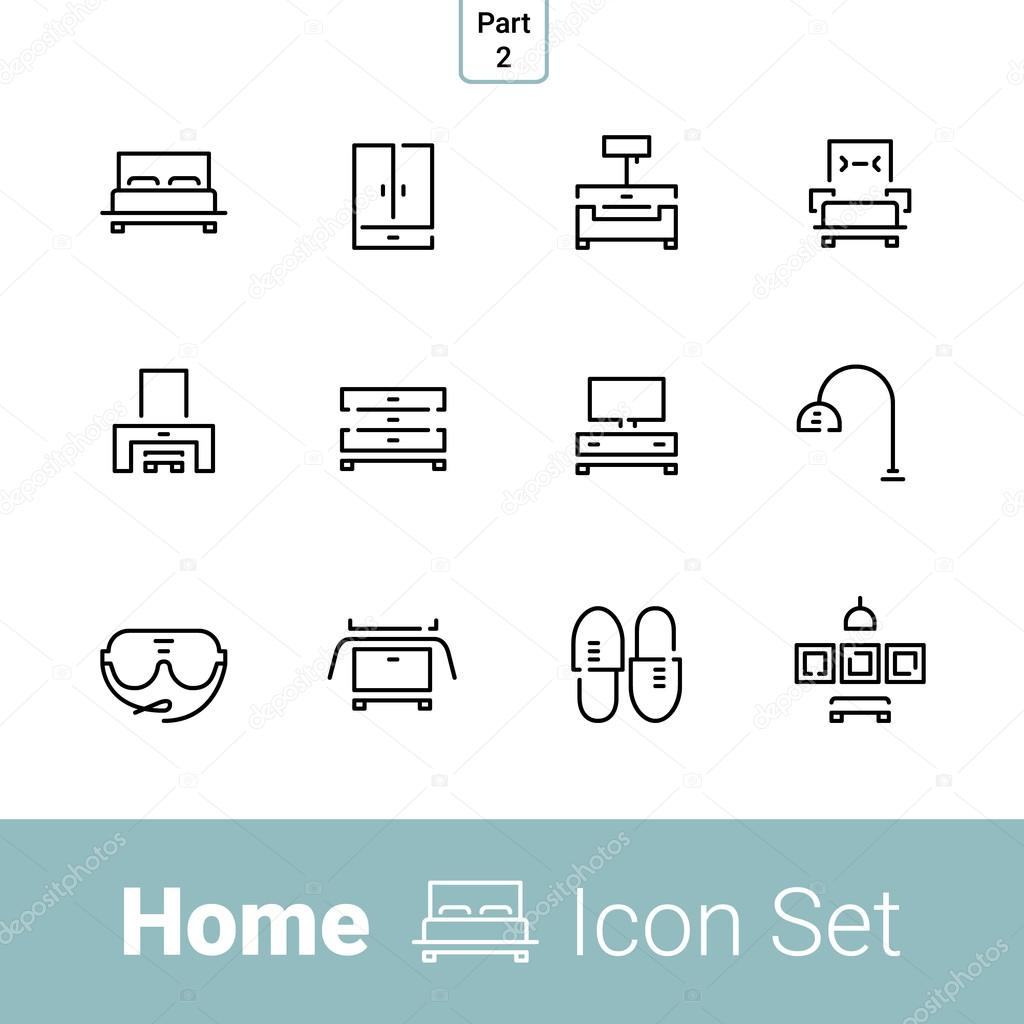 Home Line Icon Set Part 2 Bedroom Stock Vector C Dreameffy