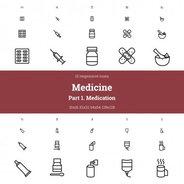Medical outline responsive icon set. Part 1