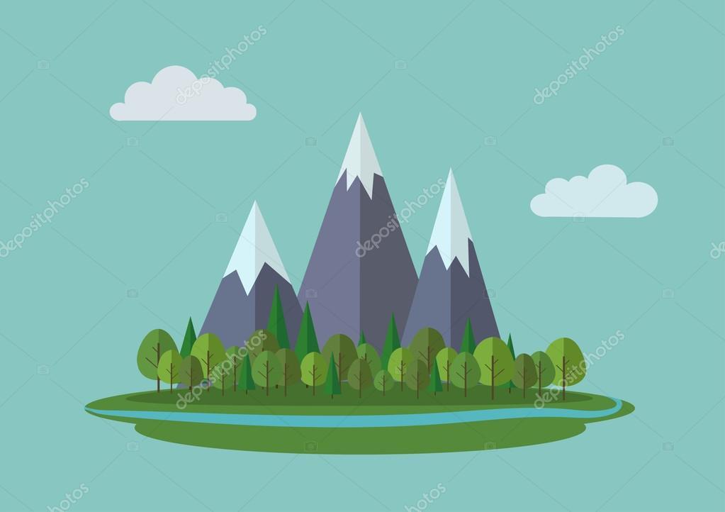 Flat mountains landscape.