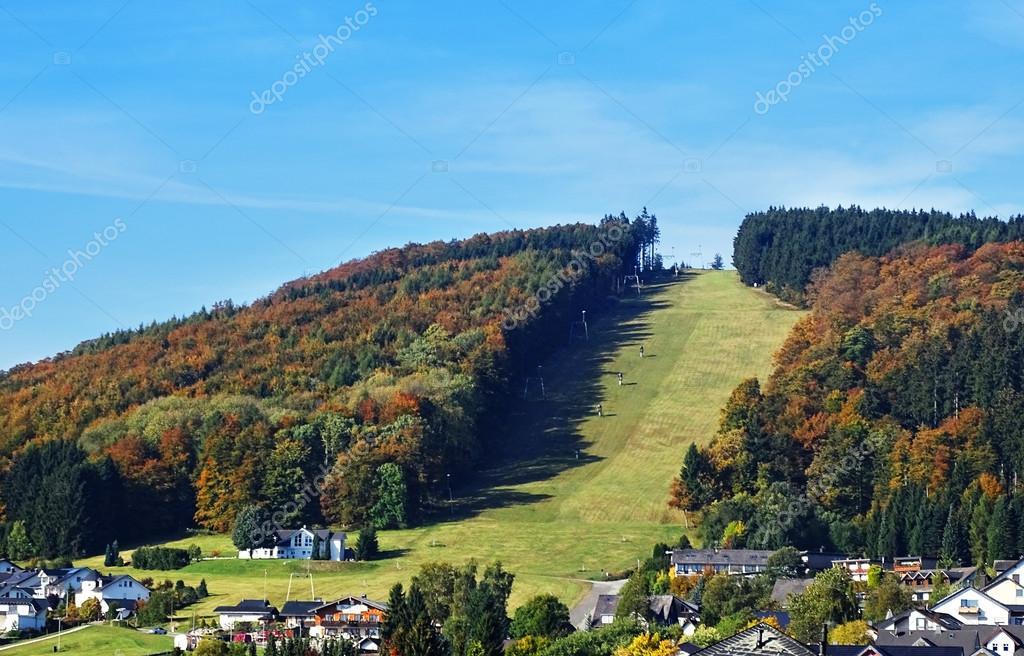 Ski slopes in Willingen in the Sauerland region in autumn