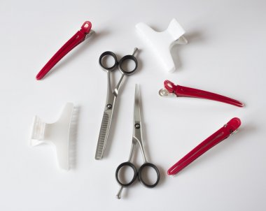 hairdressers tools scissors comb clips
