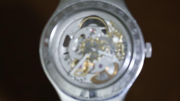 Swiss made wrist watch movement, macro video. Close up of clicking wrist watch. Baku Azerbajian MRT 2016