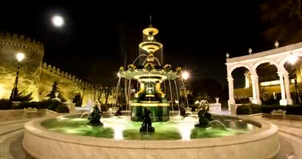 Spray of fountains in Baku park in the night hyperlapse 4k
