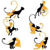 Set of kitten silhouettes.