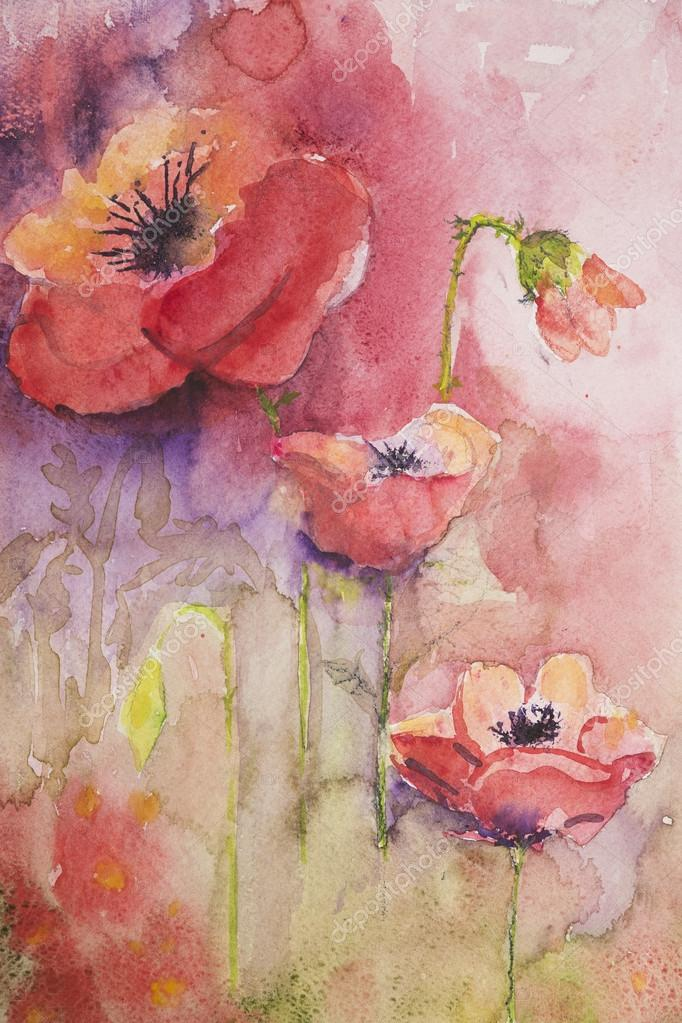 Poppies with pink and purple background